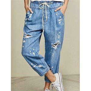 Free People Mix It Up Chambray Blue Jeans Small
